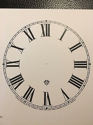"Antique Clock Parts- Antique Ansonia Clock Dial 5"".Original Cardboard-New-White. 3"