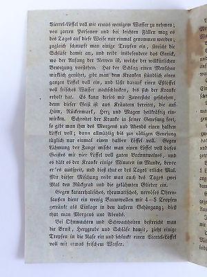 Historisches Zeitdokument Gebrauch des Melissen-Geistes o. Schlagwassers 19. Jh. 2