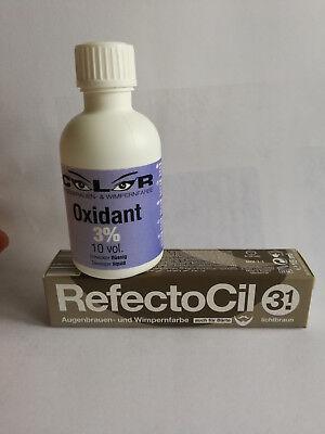 Refectocil 15ml Augenbrauen & Wimpernfarbe als Komplettes Set mit 50ml 3% Color