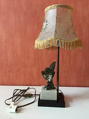 ANCIENNE LAMPE DE CHEVET, DE BUREAU BLEU FORME BOULE, PIEDS
