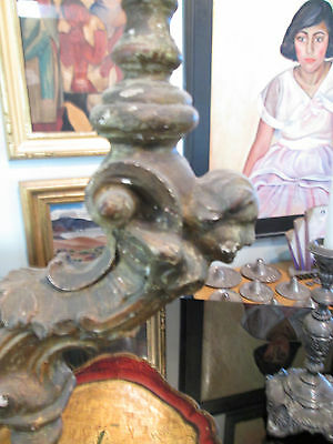 Rare 18th Century Carved and Guilded Italian Candlestick 3