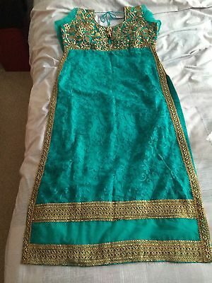 New Indian Asian Turquoise And Gold dress Churidar And kameez 8