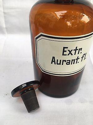 alte Apothekerflasche Braunglas Gefäß Apotheke 22cm Extr. Aurant.fl. #95 3