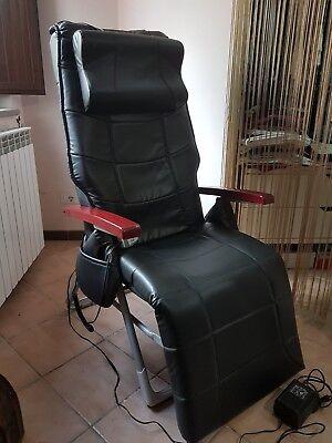 Poltrona Massaggiante Roma.Poltrona Massaggiante Relax Elettrica Reclinabile In Pelle Nera Roma