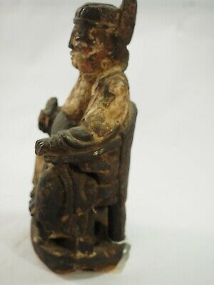 Chinese Polychrome Wood Carved Seated Emperor Ming Dynasty 1600-1700 2