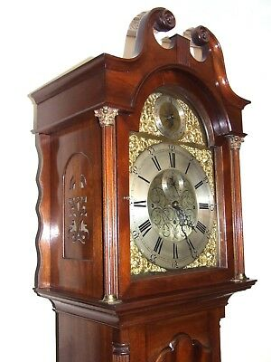 Antique Musical Tube Quarter Chiming Mahogany Longcase Grandfather Clock WORKING 5