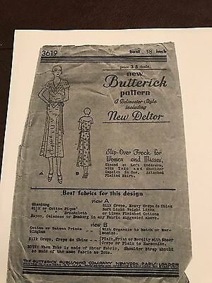 Antique Sewing Pattern- Butterick # 3619 -Ladies Dress- 1930's 3