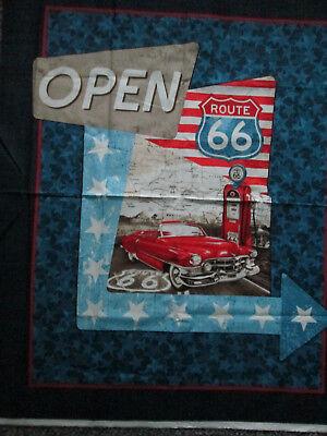 Route 66 Retro Car USA Large Fabric Cotton Panel 4
