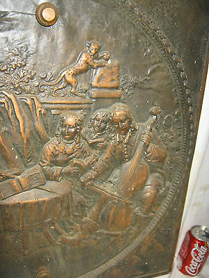 Antique Cast Iron Fireplace Cover Country Bronze Panel Music Art Plaque Monkey 3