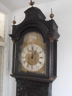 Antique 8 Day Brass Arch Dial Oak Grandfather Longcase Clock ALEX GORDON DUBLIN 2
