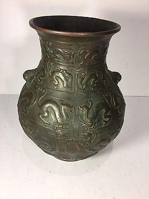 Antique Heavy Bronze Asian Waze With Pattern Of Lion  Wildcat
