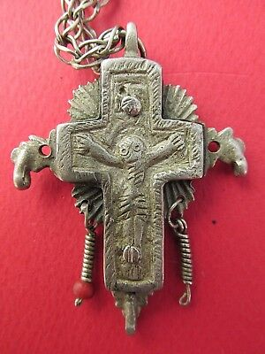 Ancient Byzantine Medieval Cross Crucifix silver alloy, pendant 3