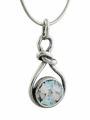Ancient Roman Glass Infinity Knot Necklace -925 Sterling Silver- Love Patina SN 2