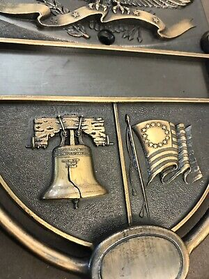 Vintage Door Knocker Metal Patriotic American Eagle Liberty Bell Colonial Flag M 5