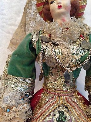 "Antique European Mediterranean Greek Doll - Silk Cloth Face - 14.5"" Tall 4"