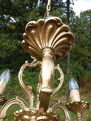 unusual vintage French 3 arm bronze cage Chandelier (BDM102) 10