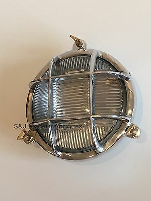 Industrial Bulkhead Light Wall Ceiling Silver Marine Aluminium Round Nautical 7