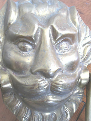 Large Old Solid Brass Lion Face Door Knocker 2