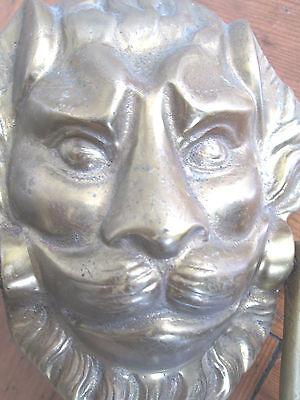 Large Old Solid Brass Lion Face Door Knocker 2
