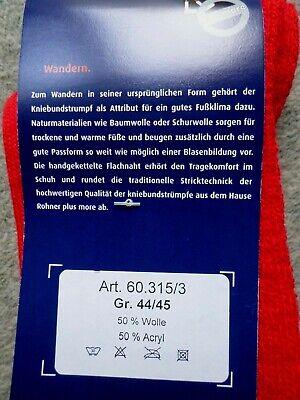 Wandersocken Trachten Kniestrümpfe Kniebundstrümpfe Wandern Rot Gr.44//45 NEU