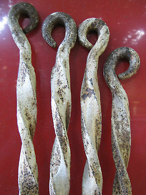 4 Antique Cast Iron Forged Stake Hardware Nail Hook Barb Wire Garden Pole Spike 2