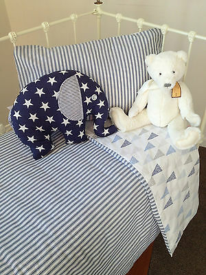 3 pc Baby Boys Cooper Cot Cover Quilt & Pillow Case Crib Nursery Bedding 4