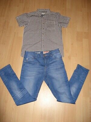 Worn Once Boys Pale Blue Next Skinny Stretch Jeans & Checked Shirt Bundle Age 12 2