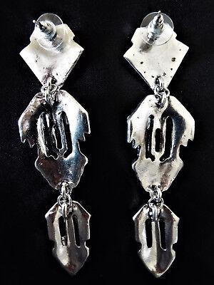 "Stylish 4"" Long Vintage ART DECO Style Silver Paste Drop CRYSTAL EARRINGS UK 4"