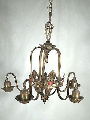 Antique Victorian Art Nouveau Gilt Metal Serpentine Arm 5 Light Chandelier 5