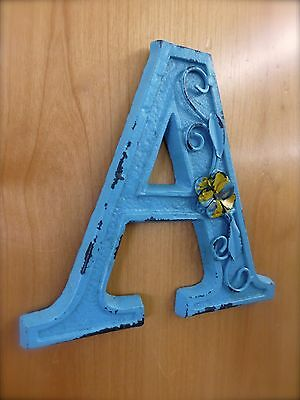 "BLUE CAST IRON WALL LETTER ""A"" 6.5"" TALL rustic vintage decor sign barn nursery 2"