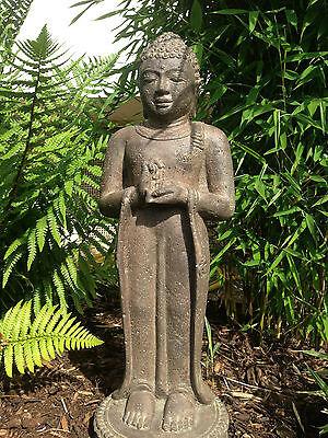 BUDDHA 60CM BUDHA STEINGUSS SKULPTUR FIGUR STEIN GARTEN TERRASSE ASIA-STONE