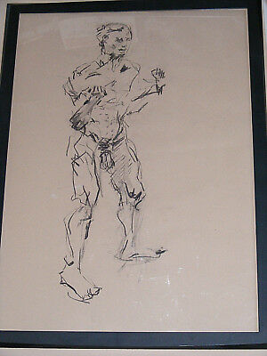 Figure life drawing nude expressive charcoal / paper, man standing, A1 size @ 2