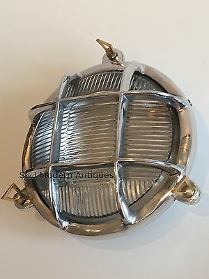 Industrial Bulkhead Light Wall Ceiling Silver Marine Aluminium Round Nautical 2