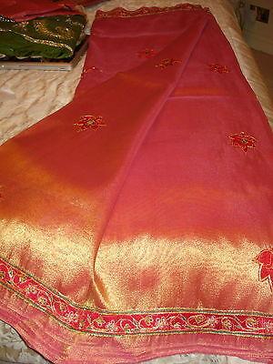 Bn Ladies / Girls Two-Tone Tissue Saree With Cutwork Design & Blouse 10
