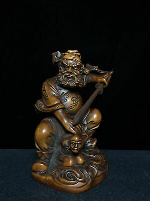 Collectable China Old Boxwood Hand-Carved Zhong Kui Seize Ghost Exorcism Statue 2