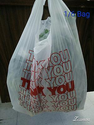 "THANK YOU T-Shirt Bags 11.5"" x 6"" x 21"" White Plastic Shopping bag 50 - 1000 4"