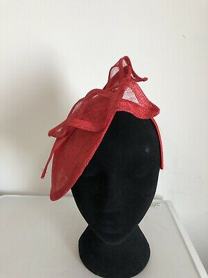 Red Lace Fascinator On Headband Weddings Christenings Ladies Day Ascot 3