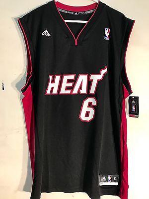best service b4865 b30f0 ADIDAS NBA JERSEY MIAMI Heat Lebron James Black sz L
