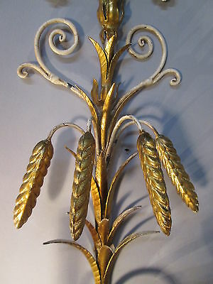 "Vintage Antique Pair Italian Tole Wheat Gold Gilt Wall Sconce Lights  22"" x 9"" 6"