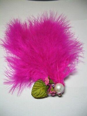 valentines pink FEATHER FASCINATOr flower WEDDING HAIR CLIP VINTAGE 50S ladies 3