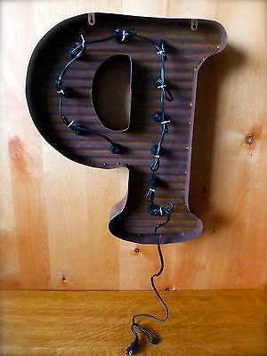 """LG BROWN VINTAGE STYLE LIGHT UP MARQUEE LETTER P, 24"""" TALL novelty metal sign"""
