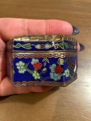 Chinese Cloisonne Pill Box With Hand Painted Stone Lid-2 1/2 Inches At Widest 3