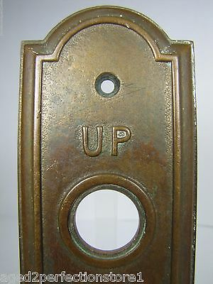 Antique Elevator Panel Up Down Bronze Brass bevel edge deco ornate orig embossed 2