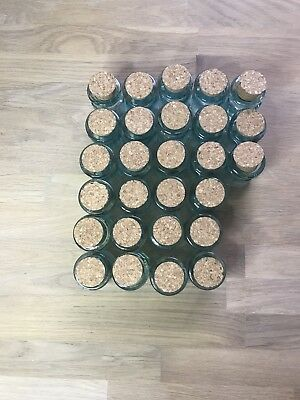Glasfläschchen mit Korken, 27 Stück als Set