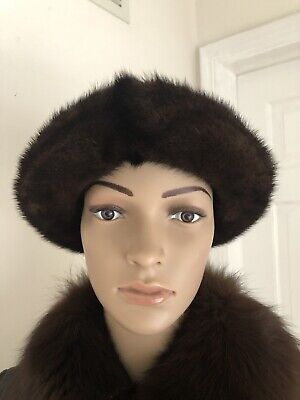 Mitchies Matchings Women's Leather Hat With Real Fur Trim EUC 3