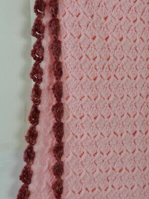 """Hand Knitted Acrylic Afghan Baby Throw Blanket Fringe Pink 16.5"""" x 87"""" 8"""