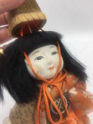 Antique Vtg Japanese Gofun Stocky Hina Doll Silk Kimono Glass Eyes Festival Hat 7