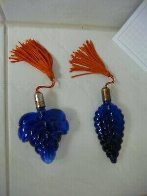 Vintage Cobold, blau Parfum Flasche Flacon,Glas Muschel - Selten Rarität Set2 4