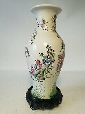 🔅 chine vase a décor oiseaux, papillons, floral à identifier 5