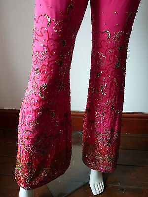 Asian Wedding Cerise Pink & Red Trouser Suit With Scarf   M   Ret £350   Bnwt 9